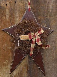 Primitive Country Hancrafted Wooden Star--looks easy me would be really cute on my front door (the one no one ever uses...at least the postal workers would see it:)