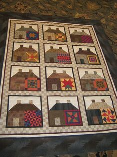 inclusion de blocs dans les maisons    house blocks with Amish quilts - use School House pattern and favorite blocks reduced to just the right size. I love this idea and must add to my Quilts-To-Do list