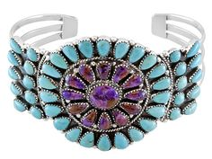 Southwest Style By Jtv(Tm) Cabochon Purple And Blue Turquoise Sterling