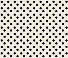 polka dots MEDIUM 2x2  - cream  black fabric by drapestudio on Spoonflower - custom fabric