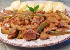 Tejszínes mustáros kecskegida ragu🍴 recept foto Asparagus, Beef, Chicken, Vegetables, Food, Meat, Studs, Essen, Vegetable Recipes