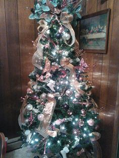 Christmas tree in rose gold, cream, pinks