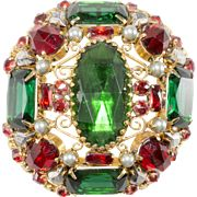 Schreiner Cranberry Red & Emerald Green Rhinestone Brooch Pin