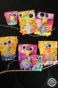 Skip Counting with cupcake liner owls. Materials Needed: Cupcake liners, googly eyes, craft foam or construction paper, scissors, glue, and branches.