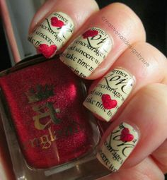Top 14 Cute Spring & Valentine Nail Designs – New Famous Fashion Manicure Trend Perfect Nails, Gorgeous Nails, Love Nails, Pretty Nails, My Nails, Nail Designs 2015, Creative Nail Designs, Creative Nails, Newspaper Nails
