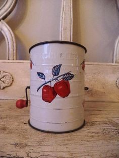 Vintage Flour Sifter - Red and White Apples - Bromwell's on Etsy, $10.00