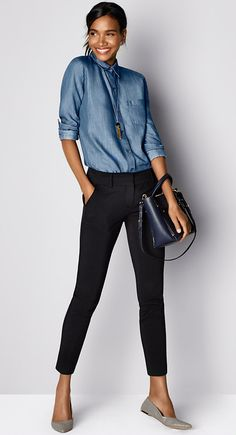 Must-Have Look: Top off your pants with buttoned-up chambray. It's business casual at its best.