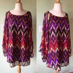 Boho Tie-Dye Dress with Bell Sleeves Umgee brand- bought at small boutique and only wore it once! Perfect condition, colors are beautiful and vivid. There is a removable tie at the waist. Umgee Dresses Mini