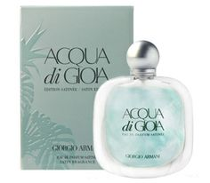 Aqua di Fioia Satin. This new women's fragrance possesses a blend of Primo Fiore Femminello lemon, fresh crushed and frozen mint leaves, jasmine, virginia cedar, brown sugar and french labdanum.