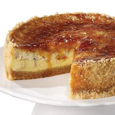 A crackly topping makes the perfect textured contrast to the creamy filling in this creme brûlée cheesecake.