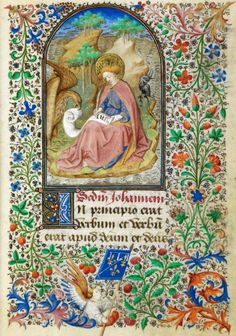 The Dunois Hours - folio 13r.  Depicting Saint John.  Yates Thompson MS 3, Dated to 1439-1450.  Images from The British Library Manuscript Website  http://www.bl.uk/manuscripts/FullDisplay.aspx?ref=Yates_Thompson_MS_3
