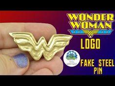 WONDER WOMAN LOGO - Fake Steel Pin.Brooch - Polymer Clay Tutorial - Blue in Wonderwood