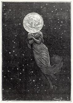 "An illustration from Jules Verne's novel ""Around the Moon"" (1872), Émile-Antoine Bayard and Alphonse de Neuville"