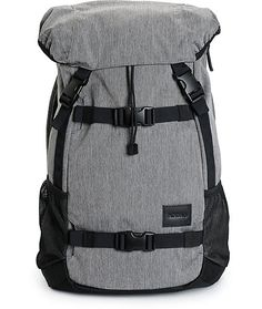 Get a durable pack for weekend trips with a heather grey design with hide away adjustable skateboard carry straps and a media pocket with a headphone port.