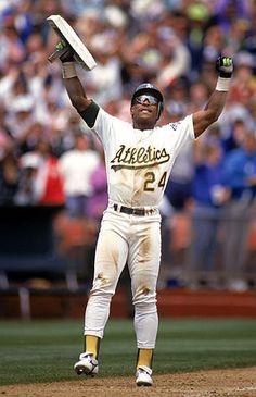 Rickey Henderson... most exciting baseball player ever. Perhaps the best baseball player ever. Nice guy too. Career leader in Stolen Bases and Runs Scored. Second in Walks to Barry Bonds. Also has record for most home runs to lead off a ball game.