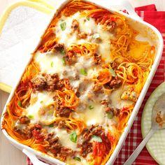Favorite Baked Spaghetti Potluck Recipes, Casserole Recipes, Dinner Recipes, Potluck Dishes, Dinner Ideas, Spaghetti Recipes, Pasta Recipes, Cooking Recipes, Taco Spaghetti