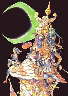D.Gray-man manga art. Allen Walker, Lenalee Lee, Kandda Yuu, Lavi, and Timcanpy.