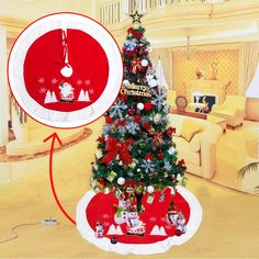 Christmas Tree Skirt Xmas Tree Skirt Holiday Party Decorations Christmas Tree Cover Aprons New Year Party Supply Christmas Ornaments
