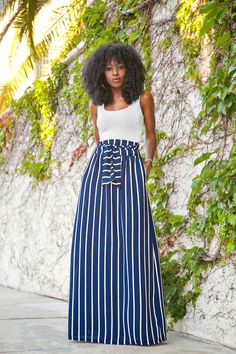StylePantry - Fitted Tank + Vertical Stripe Maxi Skirt