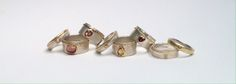 Selection of rings by Julia Beusch in sterling silver, 18 carat gold, pearl, tourmaline, citrine, diamond rings.