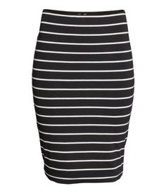 Knee-length skirt in double-layer jersey with elasticized waistband