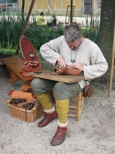 shoemaking. Reenactment group Byfrost