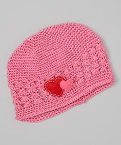 Another great find on #zulily! Pink & Red Crochet Two Hearts Beanie #zulilyfinds