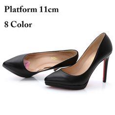 9f4000f2837 New 2015 Women s Black High Heels Low Heel 9cm Red Black Nude Platform  Pointed Toe High