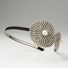 -B-Ivory Silver Clear Pearl on Black Headband Headpiece 4027