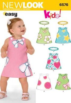 NEW LOOK-SIMPLICITY Babies Dress and Headband Sewing Pattern 6576