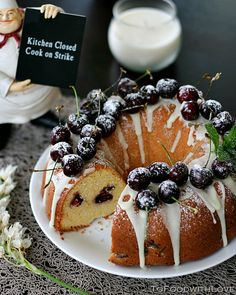 "To Food with Love: Cherry Cheese ""Christmas Wreath"" Pound Cake"