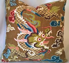 "Striking Chinese Dragon Custom Pillow Cover Velvet Back Chinoiserie! 20""x20"" by yorkshiredesigns on Etsy"