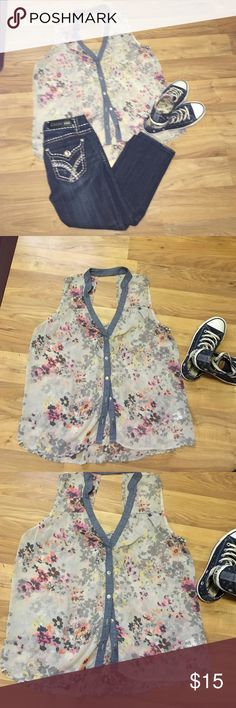 Vanity Top Vanity Sleeveless Gorgeous Too With Denim Like Trim Buttons in the front and Opening in the Back. Like New. Light so you can wear with a tank or layer it up 😊 Vanity Tops