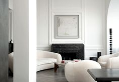 "Courtesy of: www.theaestate.comparticular of the marble fireplace, ""Quai Anatole France"", Paris by Joseph Dirand"