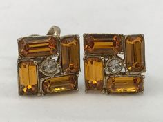 Vintage Yellow And Clear Rhinestones Clip On Screw On Earrings Collectible Gift   Jewelry & Watches, Vintage & Antique Jewelry, Costume   eBay!