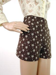 HUZZAR DESIGN Brown And Cream Star Print Hotpants by HuzzarHuzzar