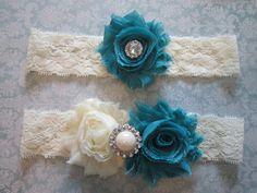 Teal & Ivory Wedding Garter Set - Choose Rhinestone or Pearl lace vintage chiffon flower rhinestone cluster pearl stretch elastic custom made