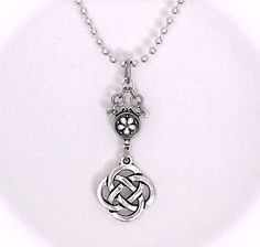 Celtic Love Knot Necklace Silver Pendant Floral by GracieWieber, $25.00