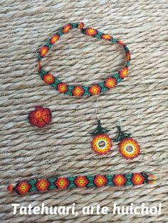 Set necklace earrings and bracelet huichol by TATEHUARIartehuichol