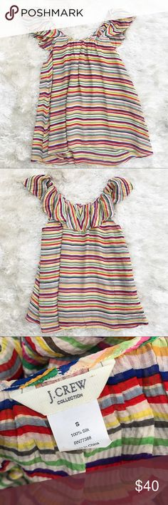 """J. CREW COLLECTION Rainbow Flutter Sleeve Top Ruffle sleeve striped top from J. Crew Collection — J. Crew's high end line. 100% Silk. Approx. measurements - pit to pit 19""""; length 25"""". J. Crew Tops"""