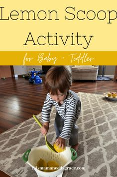 Simple and fun activity with items all easily found at home.  This is a great toddler activity to build fine-motor skills. #Lemons #LemonActivities #ToddlerPlay