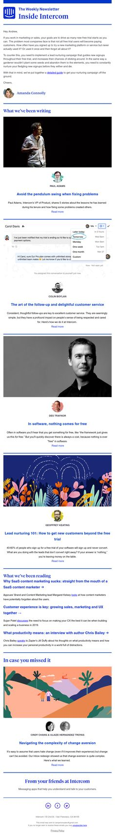Beyond the trial - this week on Inside Intercom Email Design Inspiration, Intercom, Stuff To Buy