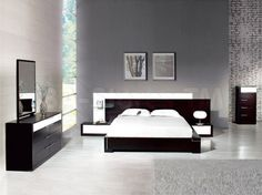 Bedroom : 36 Modern Master and Teenager Bedroom Design Ideas To Inspire You - modern Bedroom Set With Dark Wooden Furniture And  Gray Wall Paint Color and White Mattress medium version
