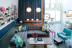 Eclectic industrial-modern, colorful!
