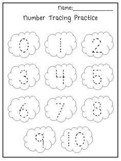 5 Printable Spring Trace the Numbers Worksheets.  Preschool-Kindergarten Numbers and Math.