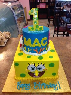 Spongebob theme 2tier cake this is perfect for braxtons 3rd BD 2