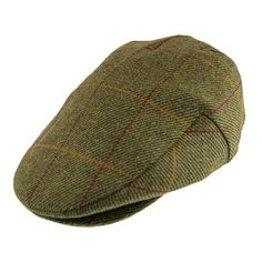 Green Belt New Mens Authentic Tweed Flat Cap Country Wool Shooting Hat Teflon Coated Peaked