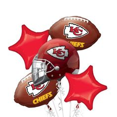 Kansas City Chiefs Balloon Bouquet 5pc 17 Birthday Boy Parties Cakes