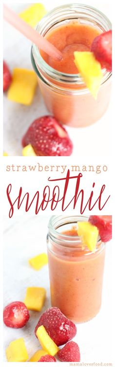 Wonderful Snap Shots Strawberry Mango Smoothie Concepts Blood and Blood Blueberry Smoothie Recipes Several popular smoothie recipes have something in commo Strawberry Mango Smoothie, Smoothie Recipes With Yogurt, Homemade Smoothies, Yummy Smoothies, Smoothie Drinks, Strawberry Recipes, Mango Smoothies, Easy Delicious Recipes, Vegan Recipes Easy