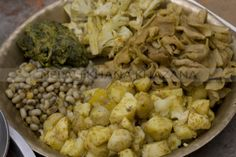 Newari Platter  Black eyed beans, spinach, cauliflower, dried raddish and boild potato.